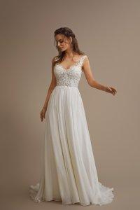 Boho Brautkleid mit luftig leichten Rock und spitzenbesetztes transparentes Oberteil mit schmalen Trägern